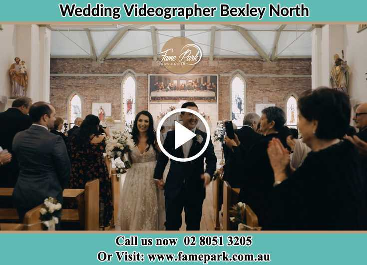 Bride and Groom walking at the aisle Bexley North NSW 2207