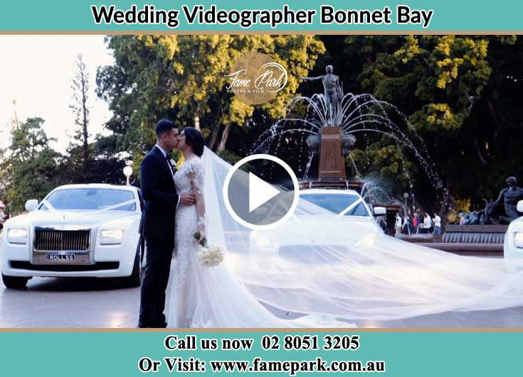 Bride and Groom kissed at the park Bonnet Bay NSW 2226