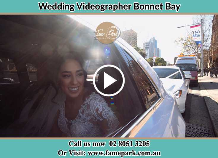 Bride inside the bridal car Bonnet Bay NSW 2226