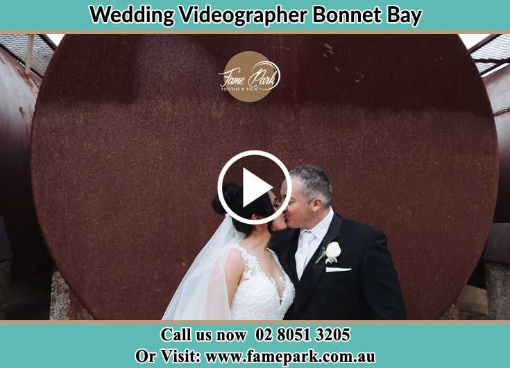 Bride and Groom kissed near the water tank Bonnet Bay NSW 2226