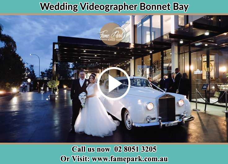 Bride and Groom standing near their bridal car Bonnet Bay NSW 2226