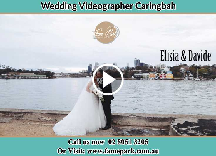 Bride and Groom kissed near the shore Caringbah NSW 2229