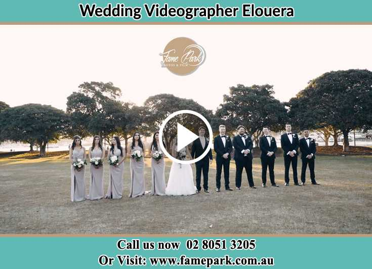 Bride and Groom at the park with their secondary sponsors Elouera NSW 2230