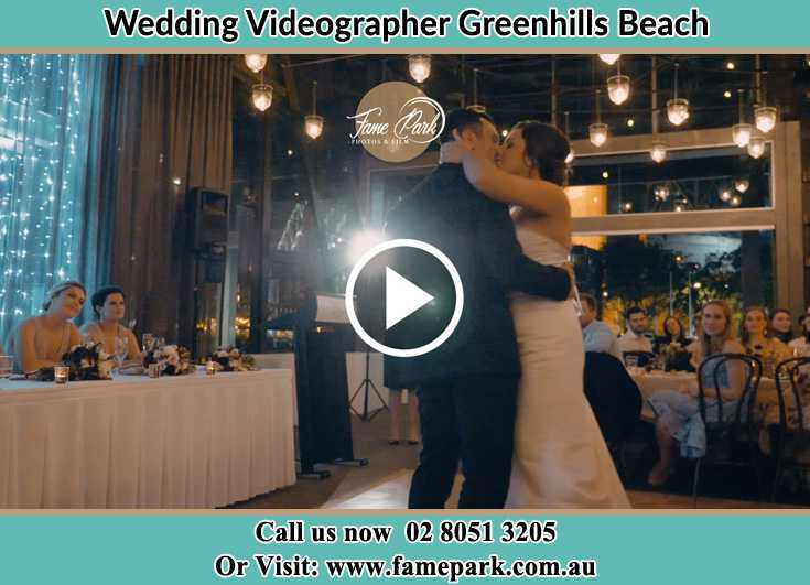 Bride and Groom kissed at the reception Greenhills Beach NSW 2230