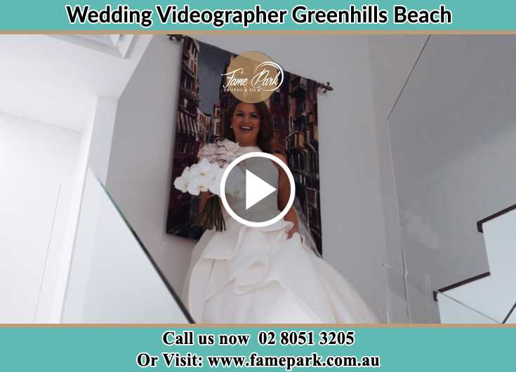 Bride walking down the staircase Greenhills Beach NSW 2230