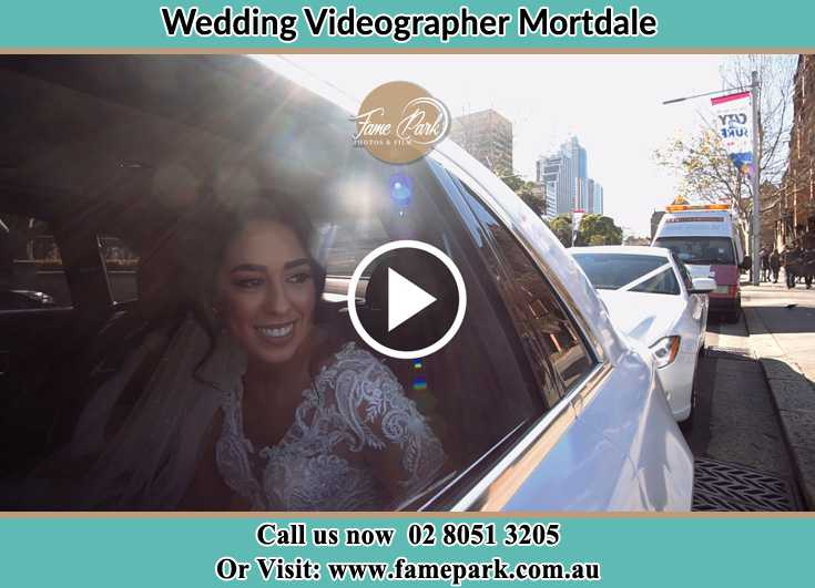 Bride inside the bridal car Mortdale NSW 2223