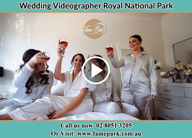 Bride and her secondary sponsors during the pajama party Royal National Park NSW 2233