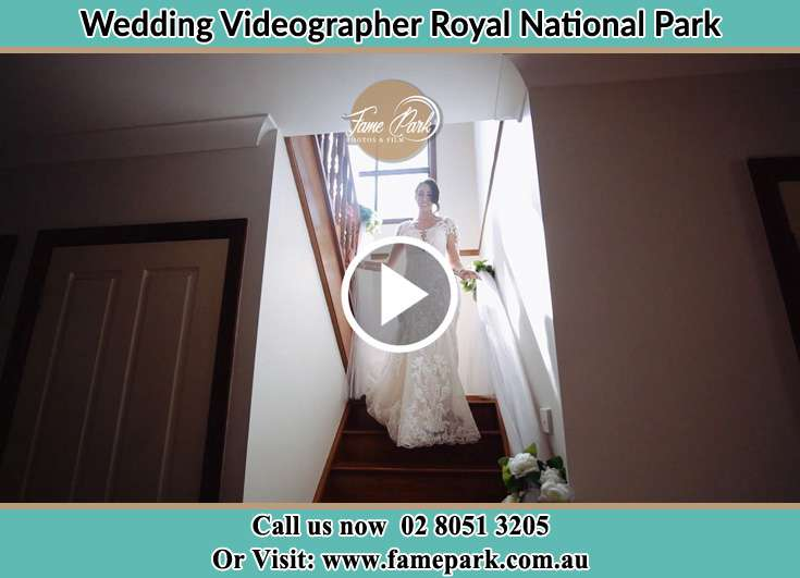 Bride walking down the staircase Royal National Park NSW 2233