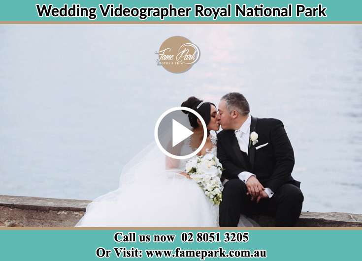 Bride and Groom kissed near the shore Royal National Park NSW 2233