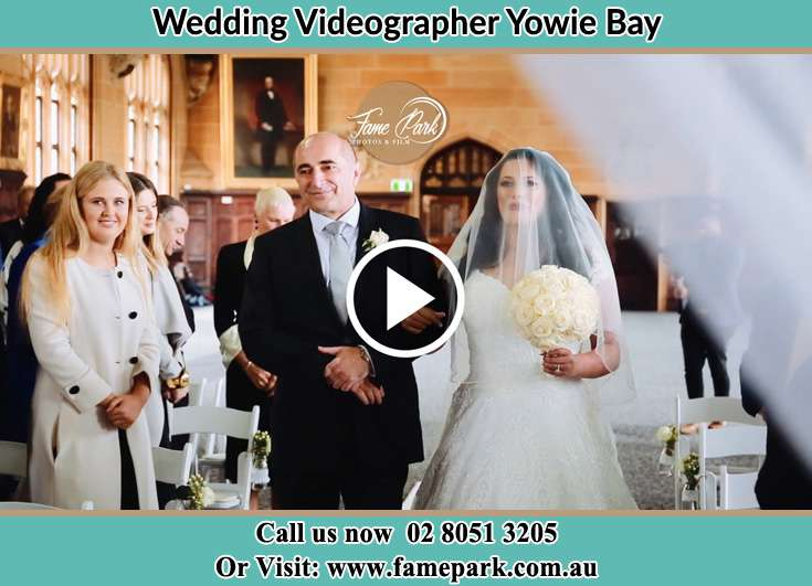 The Bride walking down the aisle with her father Yowie Bay NSW 2228